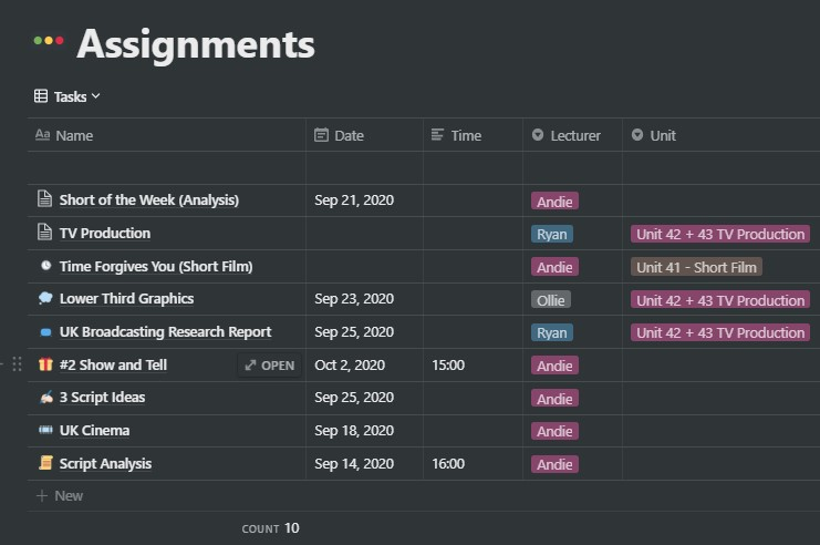Screenshot of my Notion assignments database