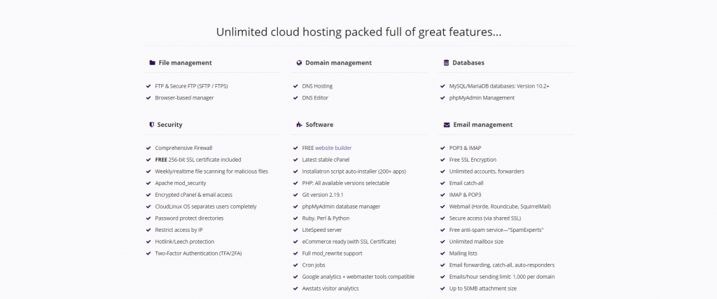 Unlimited cloud hosting packed full of great features - Krystal Hosting website features