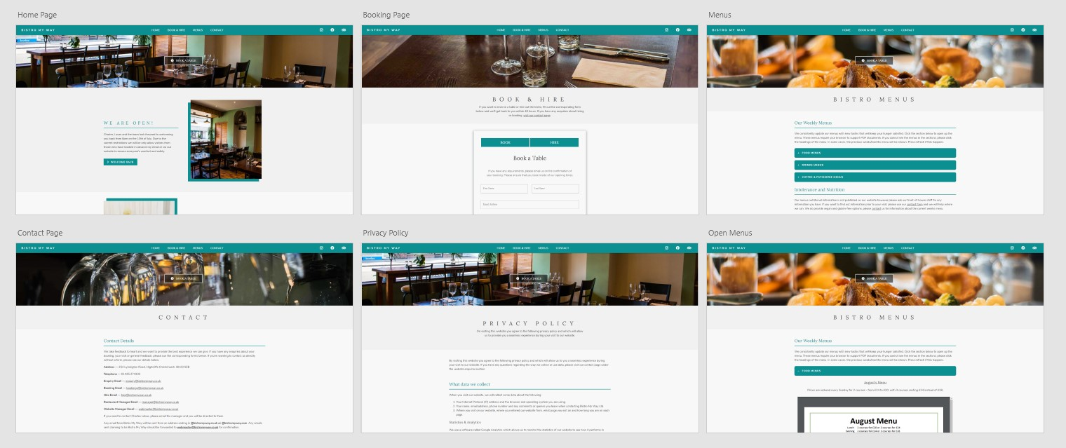 Website Design for Bistro My Way