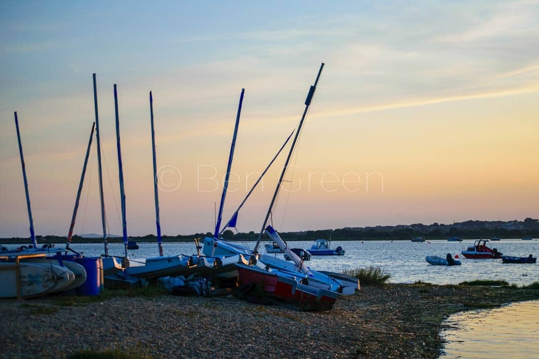 Mudeford Quay Boats at sunset